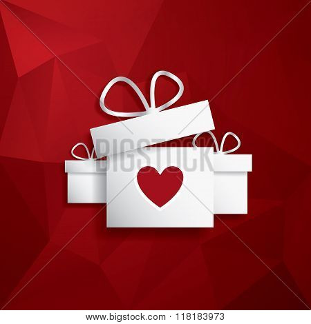 Valentine's day card concept with presents or gifts and hearts flying out. Red low poly background.