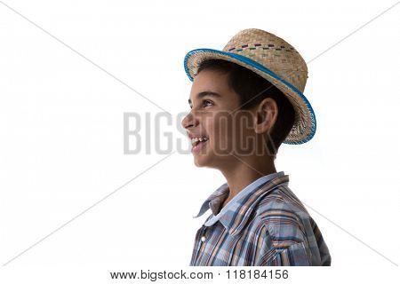 Brazilian boy wearing costume for Brazilian Junina Party (Festa Junina)