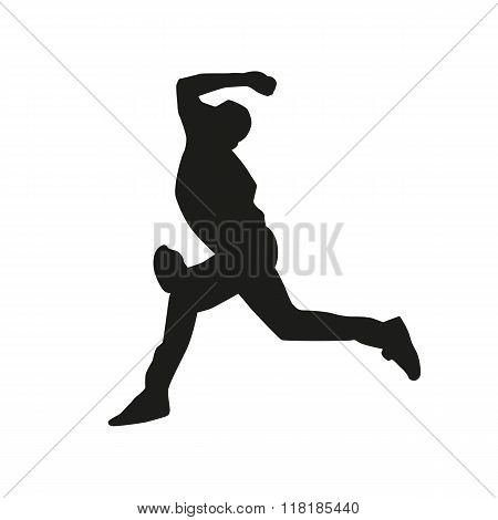 Baseball pitcher vector silhouette, baseball player silhouette