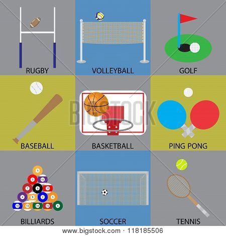 Ball Game Icon Basketball, Soccer, Golf And Volleyball