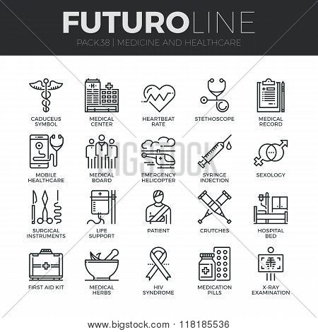 Medicine And Healthcare Futuro Line Icons Set