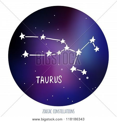 Taurus vector sign. Zodiacal constellation made of stars on space background.