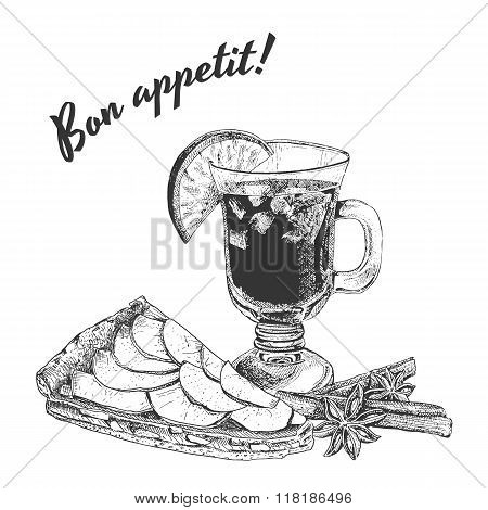 Bon appetit card with apple pie, mug of mulled wine and cinnamon sticks