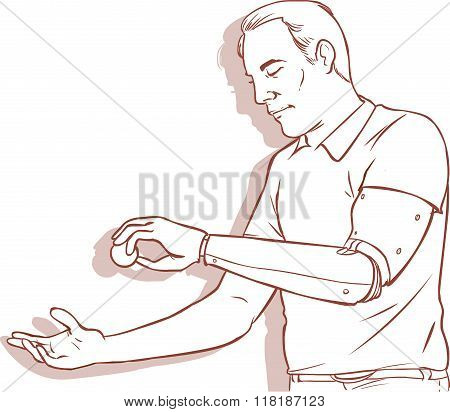 Vector Illustration Of A Man Using His Prosthetic Arm