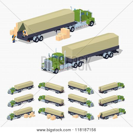Green heavy truck and trailer with the tarpaulin tent