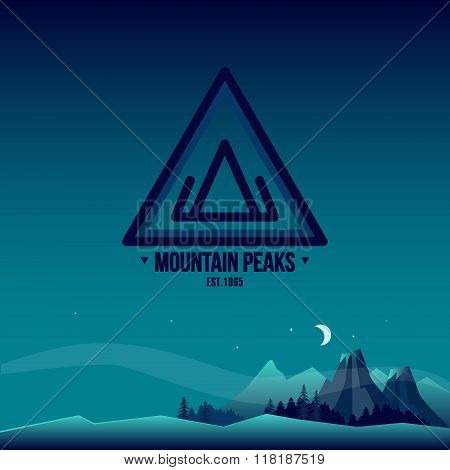 Mountain Peaks. Logo and Landscape Illustration.