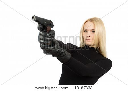 Female secret service agent in sunglasses with gun