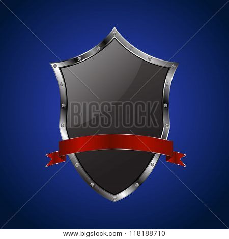 Metallic black shield with red ribbon