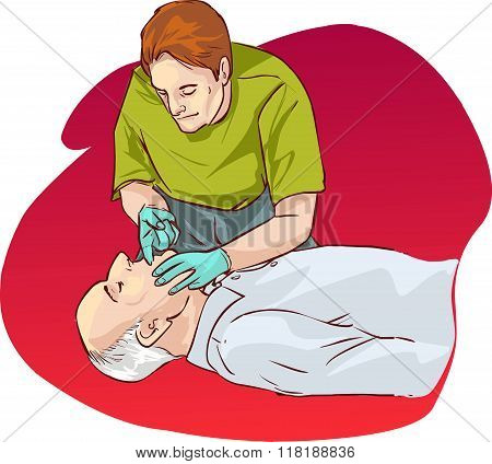 Red  Background Vector Illustration Of A Cardiopulmonary Resuscitation