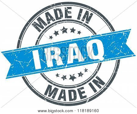 made in Iraq blue round vintage stamp