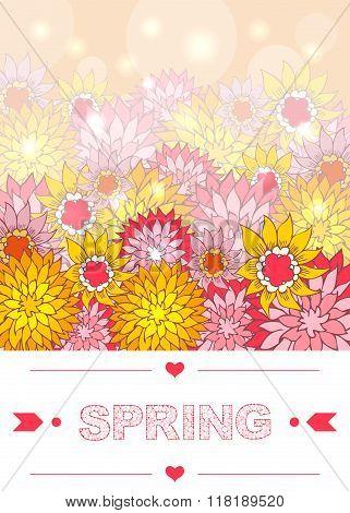 Hand drawn spring lettering with floral background. Digital art. Vector EPS 10 illustration.