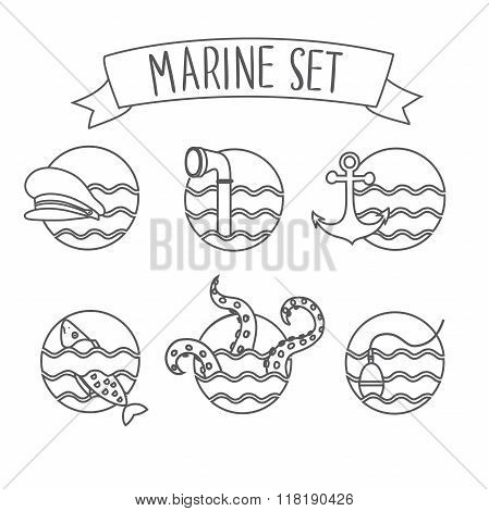 Round nautical icons