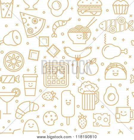 Seamless pattern with icons of food