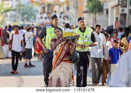 Georgetown, Penang, Malaysia - January 23, 2016 : Hindu Devotee Taking Part In The Thaipusam Festiva