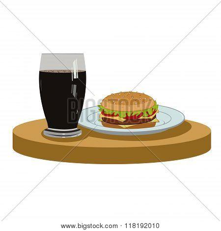 cola and a delicious burger