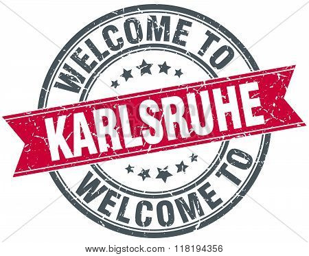welcome to Karlsruhe red round vintage stamp