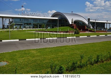 BELGOROD, RUSSIA - JUNE 9, 2014: New passenger terminal of Belgorod International airport. Opened in 2013, new terminal can serve 450 persons per hour