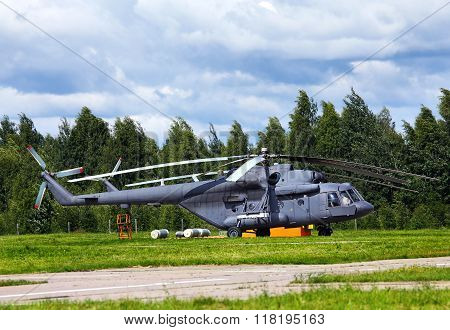 TVER REGION  -   JUNE 28: Modern russian military transport helicopter on the parking place -  on June 28, 2014 in Tver region