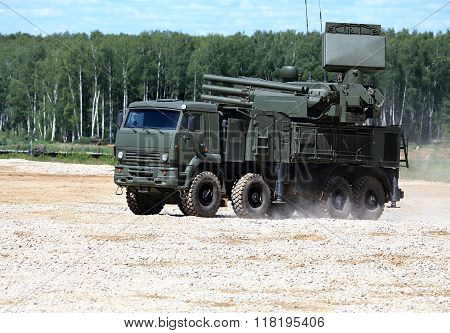 MOSCOW REGION  -   JUNE 10: Anti aircraft system  Pantsyr -  on June 10, 2015 in Moscow region
