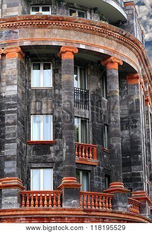 YEREVAN, ARMENIA -  OCTOBER 8: Massive building  black with galleries and balconies  -   on October 8, 2014 in   Yerevan, Armenia
