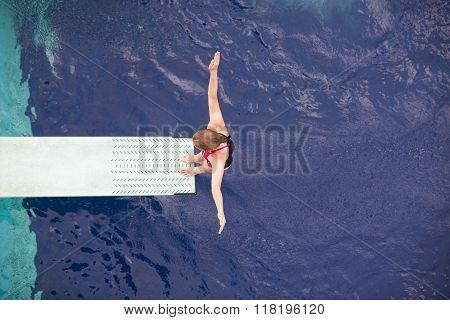 Lady diver on the springboard