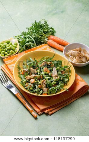 mixed salad with edamame arugula carrot and artichoke