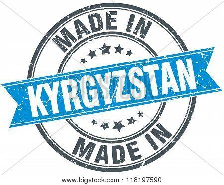 made in Kyrgyzstan blue round vintage stamp