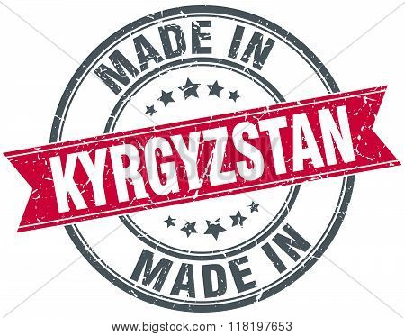 made in Kyrgyzstan red round vintage stamp
