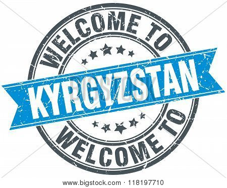 welcome to Kyrgyzstan blue round vintage stamp