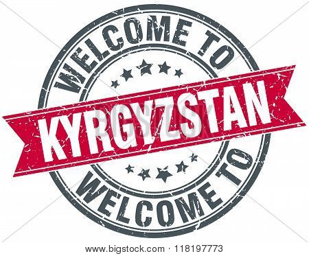 welcome to Kyrgyzstan red round vintage stamp