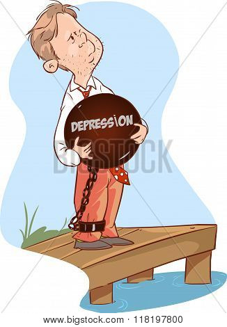 Businessman With Big Rock Will Suicide At The Edge Of The Cliff Cartoon Vector
