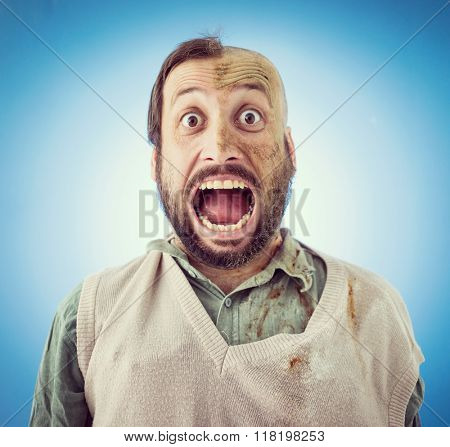 Conceptual artistic face portrait photo of a man with big mouth