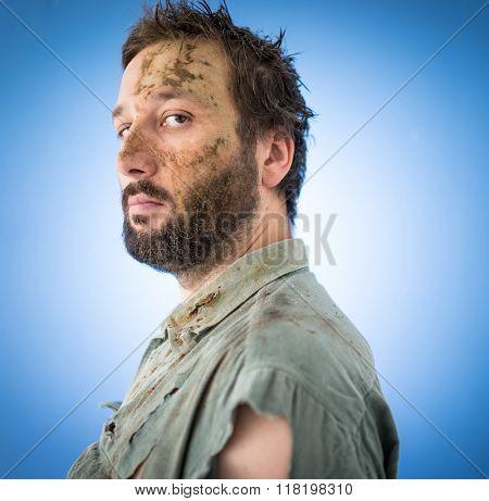Conceptual artistic face portrait photo of a man