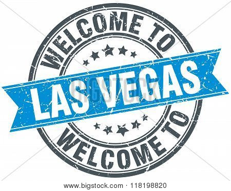 welcome to Las Vegas blue round vintage stamp
