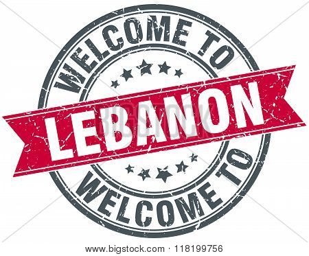 welcome to Lebanon red round vintage stamp