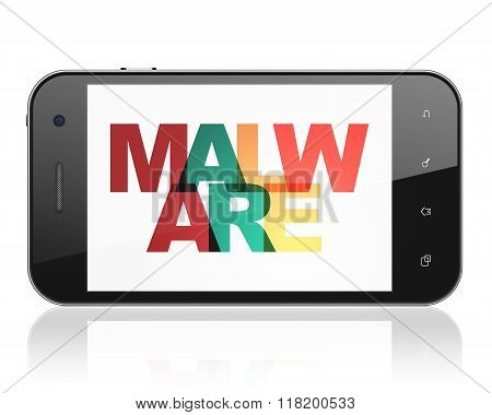 Privacy concept: Smartphone with Malware on  display
