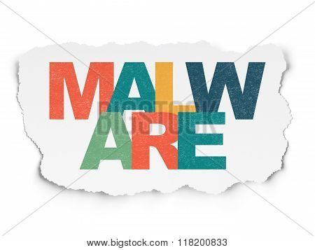 Protection concept: Malware on Torn Paper background