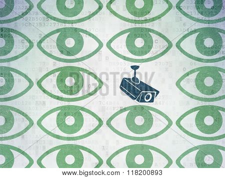 Protection concept: cctv camera icon on Digital Paper background