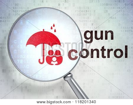 Protection concept: Family And Umbrella and Gun Control with optical glass