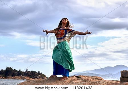 Ethnic Fashion Photo, Beautiful Sensual Girl, Bright Clothes, Ocean Beach