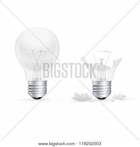 Whole and Broken Light Bulb on a White Background. Vector