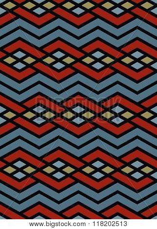 Bright abstract seamless pattern with interweave lines. Vector psychedelic with stripes. Endless decorative background unusual tracery.
