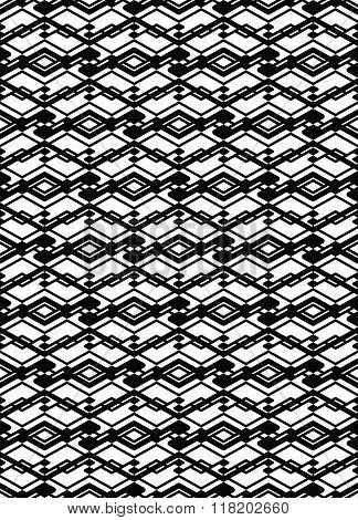Monochrome symmetric seamless pattern with parallel lines black and white infinite geometric mosaic textile abstract vector textured web visual covering.