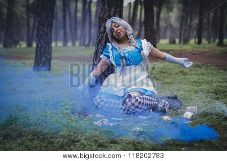 alice in wonderland, girl in a forest with smoke colore and playing cards