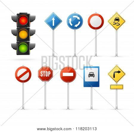 Traffic Light and Road Sign Set. Vector