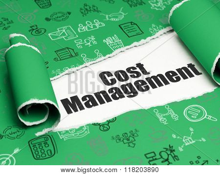 Finance concept: black text Cost Management under the piece of  torn paper