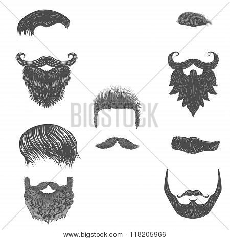 Vector Set Of Hairstyles. Vector Beards