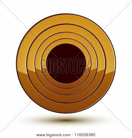 Sophisticated Vector Round Emblem, 3D Decorative Design Element, Clear Eps 8.