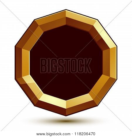 Vector 3D Glorious Glossy Design Element With Black Copy Space, Golden Conceptual Graphic Template,