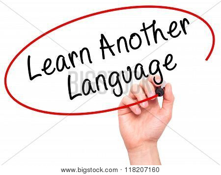 Man Hand Writing Learn Another Language With Black Marker On Visual Screen